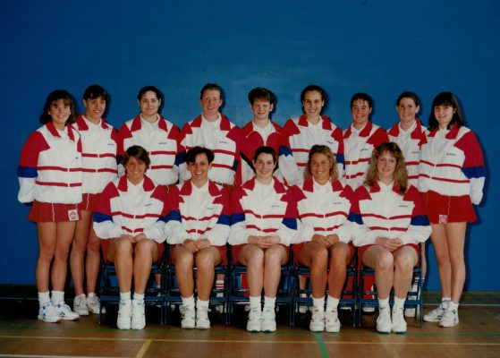 England Under 21 Squad. Back row left to right:  Sarah Brown, Claire Hobson, Sarah Olden, Christine Maskell, Louise Petchey, Clare Allen, Lindsay Fox, Erika Cormack, Joanne Lowen. Front row:  Joanne Hall, Louise Sheridan, Jacqueline Manson, Joanne Zinzan, Alex Wood.