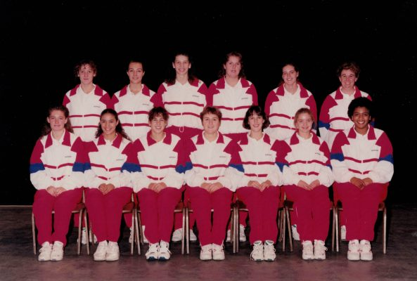 Under 18 Squad. Back row left to right:  Clare Wolverson, Vikki Doyle, Rebecca Webb, Mandy Warner, Lisa Smith, Mary Beardwood (coach). Front row:  Jemma Sampson, Vanessa McMahon, Lisa Collins, Kelly Martin, Helen Lonsdale, Gabby Powell, Rose St Louise