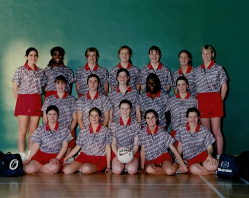 England Under 18 Squad. Back row left to right:  Emma Hancock, Vicky Browne, Kathryn Burgess, Lyndsay Edworthy, Elaine Dobson, Nicola Gray, Nicola Woods. Middle row:  Lucy Todd, Kelly Denton, Clare Cummings, Sonia Mkoloma, Elizabeth Allan. Front row:  Claire Pomroy, Helen Sully, Karen Aspinall, Louise Vickery, Jaclyn Leach