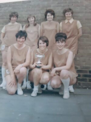 1961 Northolt Team.  Back row left to right:  Gina, Jenny, Margaret, Josey.  Front row:  Janice, Diane and Diane.