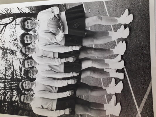 The Surrey team winners of the Inter County Tournament in the early 1960s.  From left to right:  Anne Norvell, Joyce Wheeler, Barbara Hamill, Sheila Lerwill, Jo Higgins, Rene English, Jean Heath | Rene Hagan (nee English)