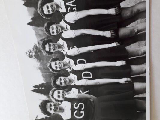 The Surrey team that won the 1957/1958 Inter-county Tournament.  From left to right:  Annette Cairncross, ?, Linda Barker?, Jo Higgins, Ann Norvell, Rene English, Ella Fraser. | Rene Hagan (nee English)