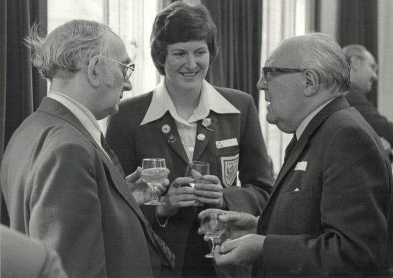 Sydney Hulls, Daily Express (left), Chris Maylor, Sir Dennis Follows, Nat West at the Press Conference