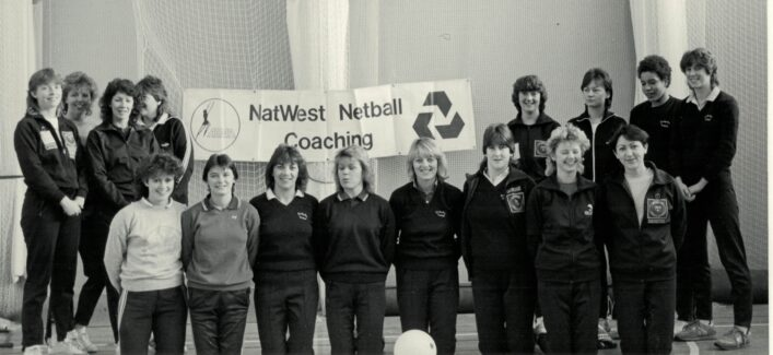 The first class of the Nat West Coaching Scheme.  Helen Fradley front row third from the left.  Who else is in this photo???