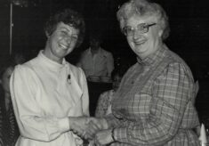 1986 Jackie Fidgen presented with the Long Service Award