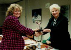 1993/94 Sharon Stephens accepts the Muriel McNally Award on behalf of Lynne Sproston, Gutersloh Fliers