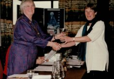 1996 Gill Williams, Hertfordshire, receiving the Muriel McNally Award from Jean Bourne AENA President