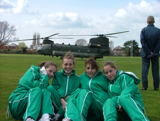 The RAF Chinook helicopter which blew down several gazebos when it took off.
