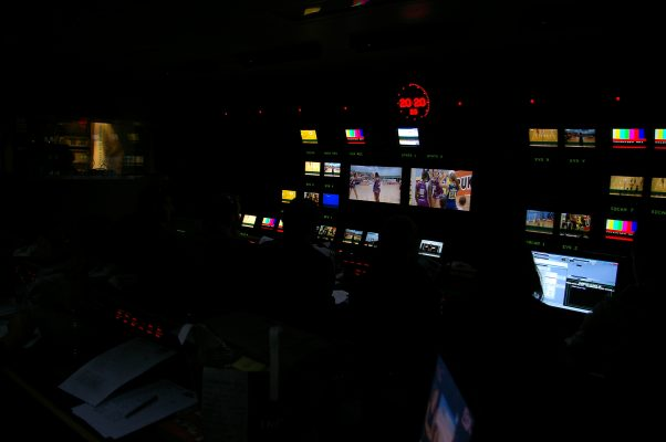 A view inside the TV truck