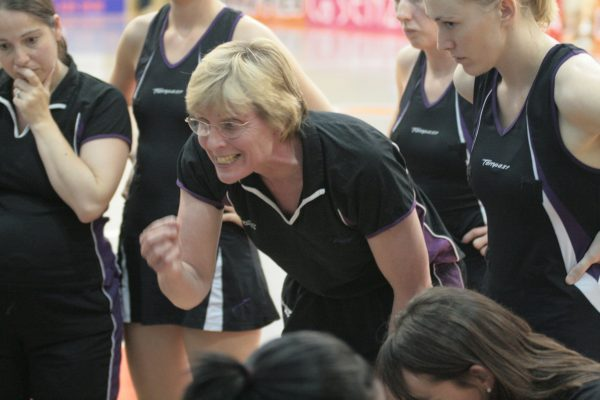 Mavericks coach Maggie Jackson making a point with assistant coach Sam Bird to her right. | Mark Pritchard Photography