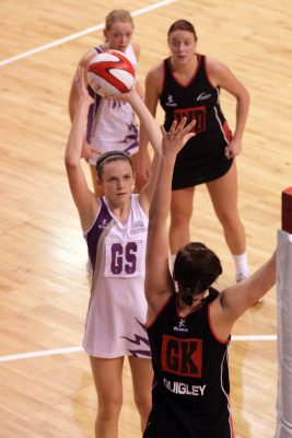 Loughborough Lightning GS Jo Harten defended by Northumbria GK Quigley | Mark Pritchard Photography