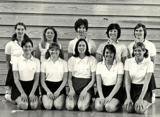 England Senior Squad. Back row left to right:  Les Darby, Pat Cane, Cathy Hickey, Judy Heath, Ann Miles (Capt).  Front row: Linda Allison, Rita Rees, Lynn McDonald, Maria Stewart, Pat Watson