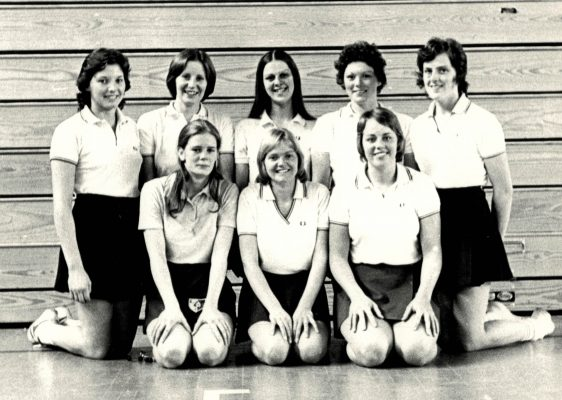 England U21 Squad.  Back row left to right:  Susan Carp, Julie Tuckley, Denise Hunter, Linda Such, Madeleine Dwan.  Front row:  Colette Reader, Christine Hutchins, Sarah Marriot.  Colette and Maddy joined the Senior Squad for the World Tournament in  New Zealand.