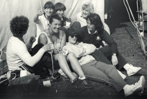 A 'Gossip' of Umpires who are off-duty at the Barclays Tournament.  Back row left to right: Maureen Hyam, Cheryl Danson, Jan Burke, Gill McDonald, Alison Burnley.  Front row: Kath Worrell, Sheelagh Redpath, Brenda Hayter.