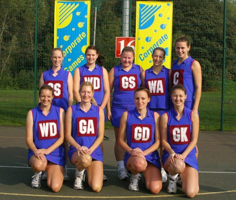 England Netball Staff squad taking part in the Corporate Games, Battersea Park, London.  Back row left to right: ???, Meghan Goodeve, Chloe Gibson, Emily St John.  Front row:  Clare Fox, Lyn Carpenter, Hayley McKellar, Stephanie Dunn   Mark Pritchard Photography