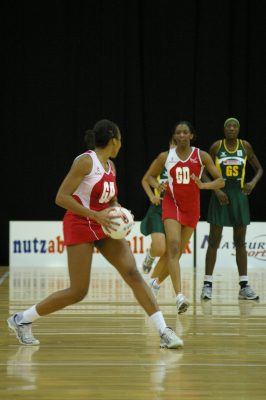 England GA Pamela Cookey looking for support from Amanda Newton GD