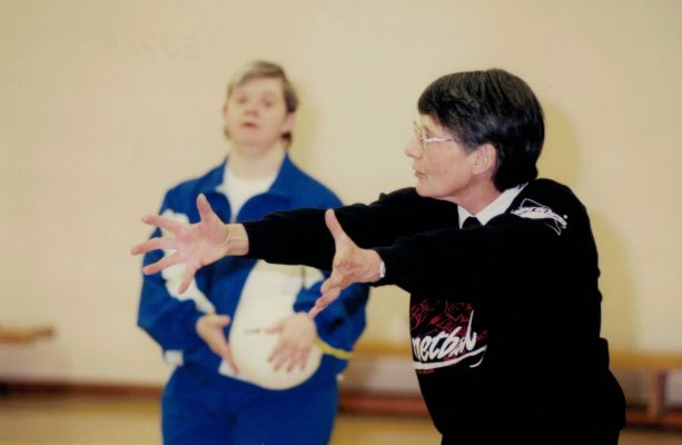 Lead Coach Jean Perkins demonstrating passing technique
