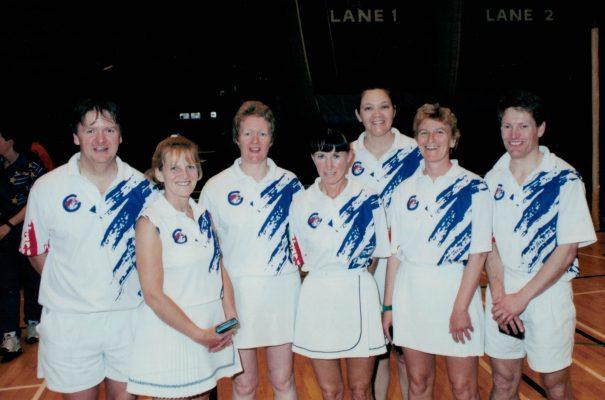 Umpires for this tournament:  left to right Bill Alexander, Ann Norman, Margaret Deighan, Beryl Lewis-Turner, Kath Styant (Wilson), Liz Haddelton, Dickon Adams
