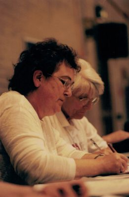 Cheryl Dewhirst and ??? on the scoring table.
