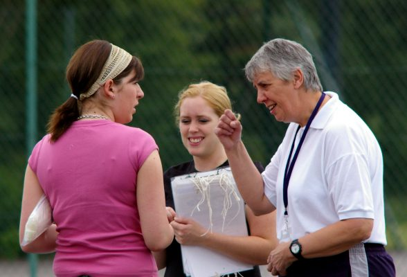 Mary Slade, right talking to some organisers, Kimberley (left) and Lorna (centre). | Mark Pritchard Photography