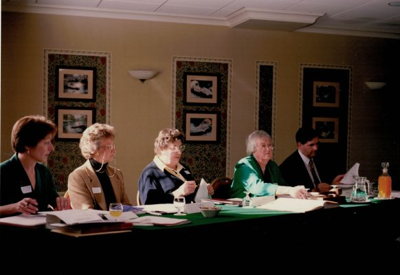 From left to right:  Liz Nicholl (CEO), Joan Mills (VC), June Jack (Chair), Jean Bourne (President), Gordon Padley (Treasurer)