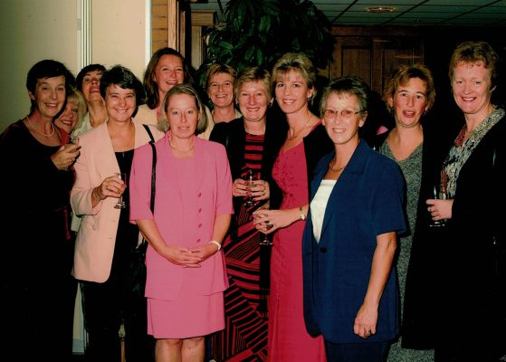 The 2001 Panel Conference was held at the same venue as the 75th Anniversary celebrations, first Hall of Fame, and Gala Dinner.  Here the umpires are having a pre-dinner drink.  From left to right:  Mary Stanley, ???, Maureen Clark behind June Snellin, Alison Bennett behind Anne Marie Riddle, Liz Haddleton, Carol Fletcher, Jan Bennett, Jenny Poore, Yvonne Adshead, and Margaret Deighan.