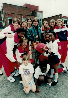 The launch of the Hoops for Health in London with the players from the England Senior and U16 squads.  Going round clockwise kneeling Tracy Bartram (Miller), Helen Manufor, Chantel Mortimer, Jo Zinzan (Moxham), Judith Ireson (Mann), unknown basketball player, Michell (Ellie) Andrews U16, Laura Woodroof U16, Katie Nichols Tulloch U16, Amanda Newton.