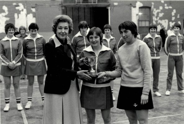 Commandant SVA McBride, Director WRNS presenting the winners trophy to the Army